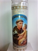 SAINT ANTHONY OF PADUA SEVEN DAY UNSCENTED WHITE CANDLE IN GLASS (SAN ANTONIO DE PADUA)