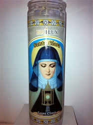 SAINT CLARA SEVEN DAY UNSCENTED WHITE CANDLE IN GLASS (SANTA CLARA)