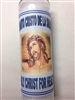 HOLY CHRIST SEVEN DAY UNSCENTED WHITE CANDLE IN GLASS FOR HEALTH ( SANTO CRISTO DE LA SALUD )