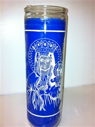 AFRICAN SAINT BARBARA BLUE SEVEN DAY CANDLE IN GLASS