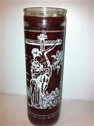 SAINT FRANCIS OF ASSISI SEVEN DAY CANDLE IN GLASS (  SAN FRANCISCO DE ASIS CANDLE )