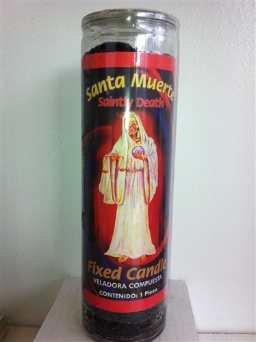 SAINTLY DEATH PREPARED SEVEN DAY BLACK CANDLE IN GLASS ( SANTA MUERTE  CANDLE )