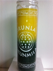 ORISHA ORUNLA TWO COLOR SEVEN DAY CANDLE IN GLASS