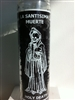 HOLY DEATH SEVEN DAY UNSCENTED BLACK CANDLE IN GLASS ( LA SANTISIMA MUERTE CANDLE )