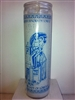 OUR LADY OF LORETO SEVEN DAY UNSCENTED WHITE CANDLE IN GLASS (NUESTRA SENORA DE LORETO)