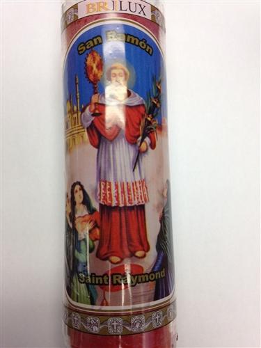 SAINT RAYMOND NONNATUS 7 DAY RED CANDLE IN GLASS (SAN RAMON NONATO)