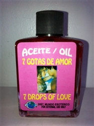 MAGICAL AND DRESSING OIL (ACEITE) 1/2 OZ FOR 7 DROPS OF LOVE (7 GOTAS DE AMOR)