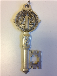"SAINT BENEDICT ALL METAL 5"" MEDALLION KEY DOUBLE SIDED"