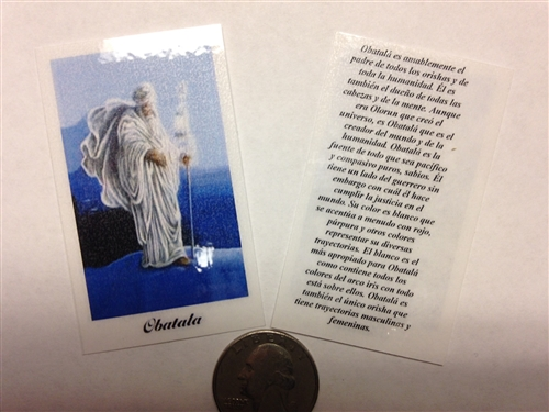 SMALL HOLY PRAYER CARDS FOR THE ORISHA OBATALA IN SPANISH SET OF 2 WITH  FREE U S  SHIPPING!