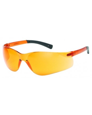 INOX® F-II™ Safety Glasses, Orange Lens, Black Temple Tips