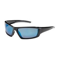 "Sunburstâ""¢ Full Frame Safety Glasses, Blue Mirror Plus Lens, Anti-Scratch / Anti-Reflective Coating, Black Frame"