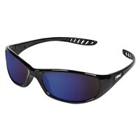 "HellRaiserâ""¢ Full Frame Safety Glasses, Blue Mirror Lens, Black Frame"