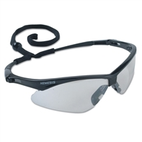Nemesis Safety Glasses, Indoor/Outdoor Lens, Anti-Scratch Coating, Black Frame, Soft Touch Temples, Neck Cord