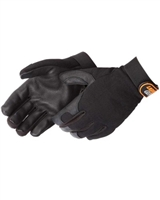 Blacknight Deerskin Palm Mechanics Gloves, Black- Small