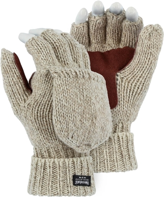 Winter Lined Wool Glove, Leather Palm, Fingerless w/ Hood