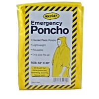 Emergency Poncho, Reusable, Hooded, One Size Fits All