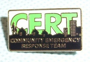 CERT Lapel Pin, dimension: 1 inch W x 9/16 inch H