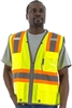 MESH VEST, HI VIZ YELLOW, LEVEL 2, CLR POCKET, DOT STRIPING, REFLECTIVE TRIP, D-RING SLOT