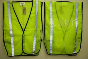 Hi-Viz Green Mesh Vest with CERT imprint, Size: 2X-3X