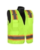 ORANGE, CLASS II SURVEYORS VEST, W/2 TONE REFL, SOLID FRONT, MESH BACK