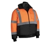 HI VIZ Insulated Bomber Jacket w/ Black Bottom, ANSI Class 3, Orange