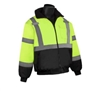 HI VIZ Insulated Bomber Jacket w/ Black Bottom, ANSI Class 3, Lime Green