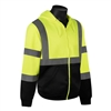HI VIZ Sweatshirt w/ Black Bottom, Attached Hood, Class 3
