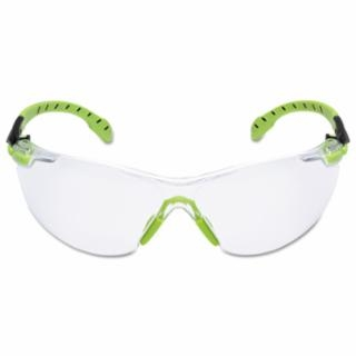 3M SOLUS 1000 SAFETY GLASS GREEN/BLACK FRAME, CLEAR AF LENS