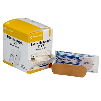 Bandage, 1 inch x 3 inch Fabric Strip, 100 per box