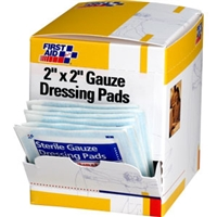 Gauze Pads, 2 inch x 2 inch, 8 ply, 25 - 2 packs per box