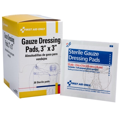 Gauze Pads, 3 inch x 3 inch, 12 ply, 10 packs of 2 pads per box