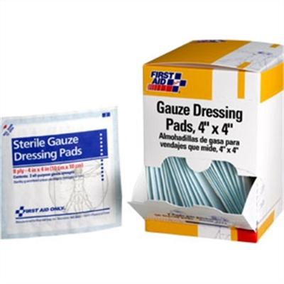 Gauze Pad, 4 inch x 4 inch, 8 ply, 25 packets of 2 pads per box