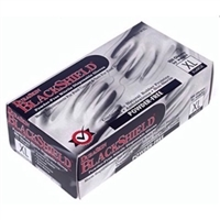 BLACK DISPOSABLE NITRILE GLOVES, PF, 4MIL
