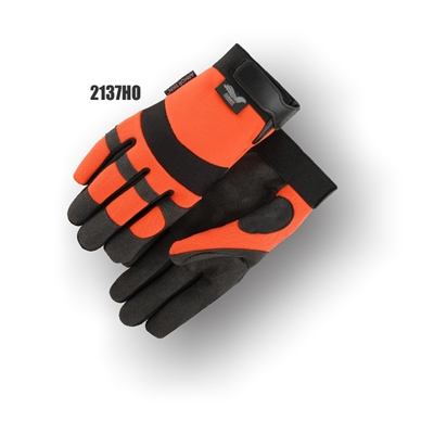 Armorskin Mechanics Glove, Synthetic Palm, High Visibility, Orange Back, Velcro Wrist