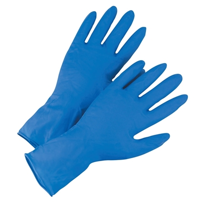 Latex 14mil Disposable High Risk Gloves, Blue PF