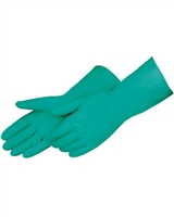 GREEN 15mil NITRILE GLOVES, 13inch LONG, FLOCK LINED
