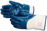 Blue Nitrile fully coated glove, jersey lined, 2.5inch cuff