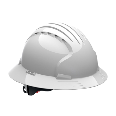 EVOLUTION DELUXE FULL BRIM 6 PT WHITE RATCHET *VENTED* HARD HAT