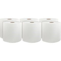 "Hard Wound Paper Towels, White, 8"" x 800', Case of 6 rolls"