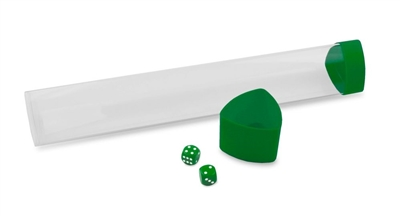 BCW Playmat Tube with Dice Storage Cap - Clear with Green Lid