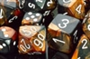 Chessex 12D6 - 16mm Gemini Black-Copper with White Pips