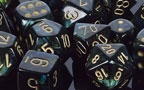 Chessex 36D6 - 12mm Scarab Jade with Gold Pips