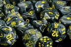 Chessex 36D6 - 12mm Vortex Black with Yellow Pips
