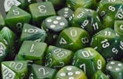 Chessex 36D6 - 12mm Phantom Green with White Pips