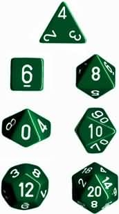 Chessex Polyhedral 7 Die Set - Opaque Green with White Numbers