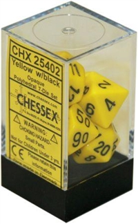 Chessex Polyhedral 7 Die Set - Opaque Yellow with Black Numbers