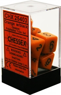 Chessex Polyhedral 7 Die Set - Opaque Orange with Black Numbers