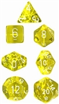 Chessex Polyhedral 7 Die Set - Translucent Yellow with White Numbers