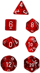 Chessex Polyhedral 7 Die Set - Translucent Red with White Numbers