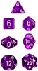 Chessex Polyhedral 7 Die Set - Translucent Purple with White Numbers